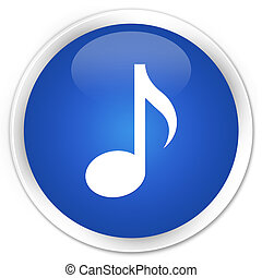 Music icon blue button - Music icon glossy blue round button