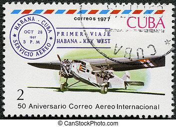 CUBA - CIRCA 1977: A stamp printed in Cuba shows...
