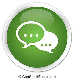 Chat icon green button - Chat icon glossy green round button