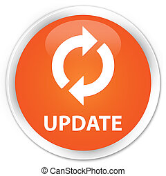 Update icon orange button - Update icon glossy orange round...