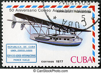 CUBA - CIRCA 1977: A stamp printed in Cuba shows Flying boat...