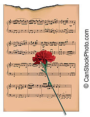 leaf with notes - The scorched leaf with notes and a...
