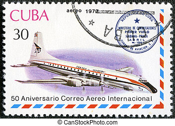 CUBA - CIRCA 1977: A stamp printed in Cuba shows vintage...