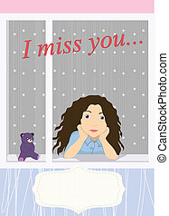 I miss you - vector card I miss you