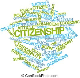 Citizenship - Abstract word cloud for Citizenship with...