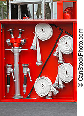 Fire equipment - Fire fighter equipment in the red box