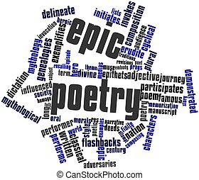 Epic poetry - Abstract word cloud for Epic poetry with...