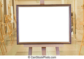 big picture frame on easel in art gallery