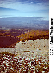 Mountain autumn view,Mont Ventoux, France - View from the...