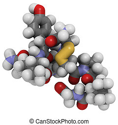 Oxytocin cuddle hormone molecule, chemical structure -...