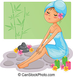 spa girl - pretty girl enjoying a spa