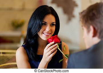 Romantic date - Young happy couple romantic date at...