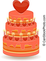 Valentines Cake on White Background