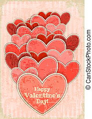 Retro Valentines Day Card with Hearts on Retro Background...