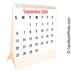 Calendar of a desktop 2009 for September