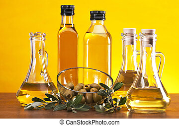 Olive oil and olives - Fresh olives, olive oil on olive...