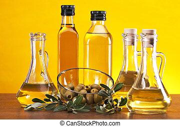 Olive oil and olives - Fresh olives, olive oil on olive...