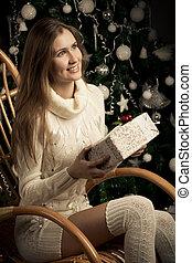 美しい, 装飾, 女, 贈り物, クリスマス