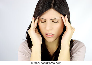 Beautiful woman with terrible headache - Depressed young...