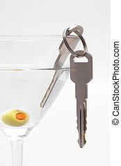 Car Keys in Martini - Concept: Drinking and driving don\\\'t...