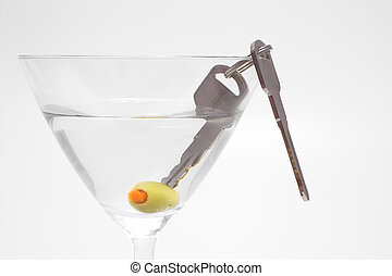 Car Keys in Martini - Concept: Drinking and driving dont mix...