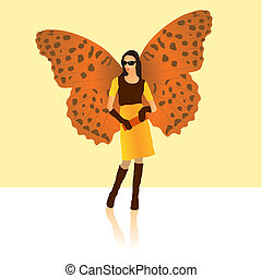 Stylish butterfly lady in fashionable clothes