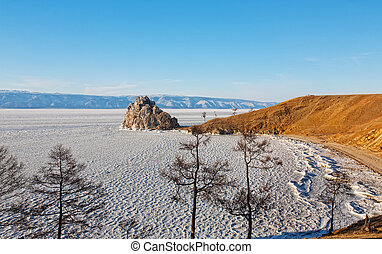 Look and Shamank's rock on the island of Olkhon on Lake Baikal in Russia