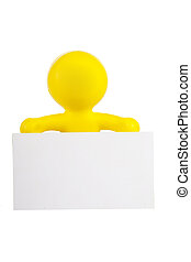 yellow little man holds a white banner with a place for the text