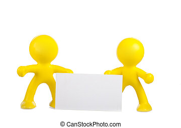 Two yellow little men hold a white banner with a place for the text
