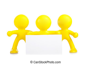 Three yellow little men hold a banner with a place for the text