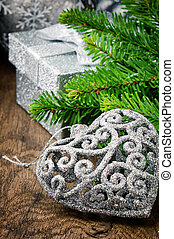 Christmas decorations in silver tone