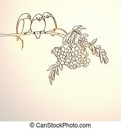 Background with birds on branch