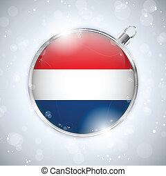 Merry Christmas Silver Ball with Flag Netherlands - Vector -...