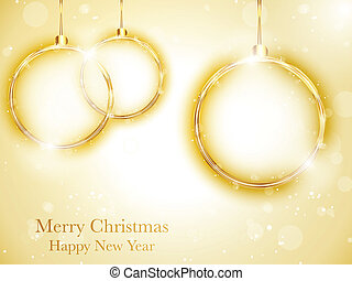 Vector - Merry Christmas Happy New Year Ball Golden with...