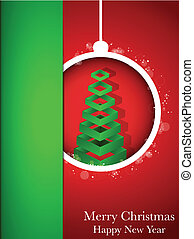 Merry Christmas Happy New Year Ball on Red Background -...