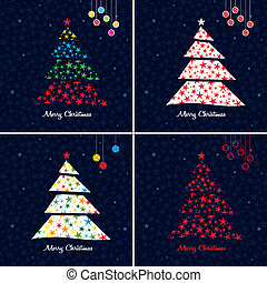 Colorful Christmas tree background set. Vector.