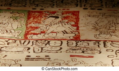 Mayan Codex, extr closeup - Maya codices, folding books,...