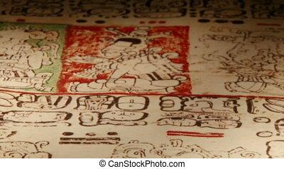 Mayan Codex, extr closeup - Maya codices, folding books,...