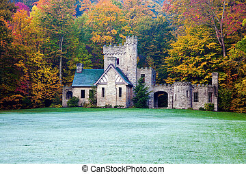 Squires Castle in Willoughby Hills, Ohio Colorful trees and...