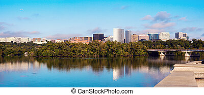 Downtown of Arlington, Virginia and Potomac River -...