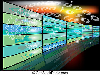 abstract background with binary code and screens