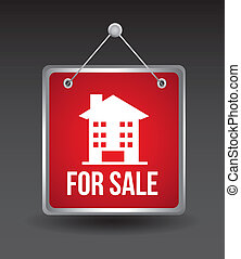 for sale label - for sale announcement over house over black...