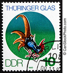 Postage stamp GDR 1983 Cock, Thuringian Glass - GDR - CIRCA...