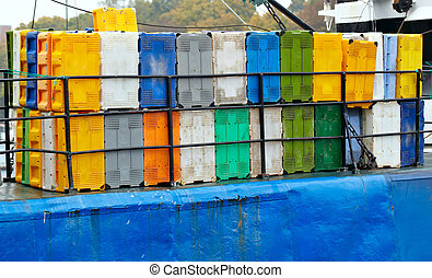 Containers on the cargo ship.