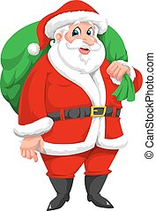 Santa Claus, illustration - Santa Claus with Green Sack Full...
