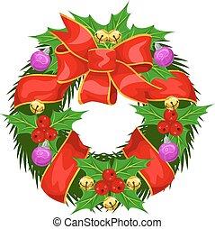 Christmas Wreath, illustration - Christmas Wreath, vector...