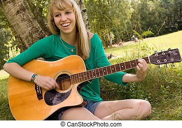 blond girl and her instrument