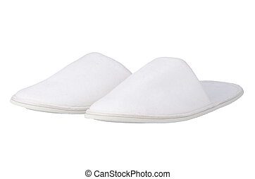 A pair of white slippers
