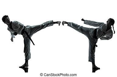 Caratê, taekwondo, marcial, artes, homem, mulher, par,...