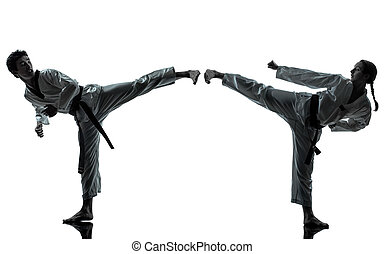 karate, Taekwondo, marcial, artes, hombre, mujer, pareja,...